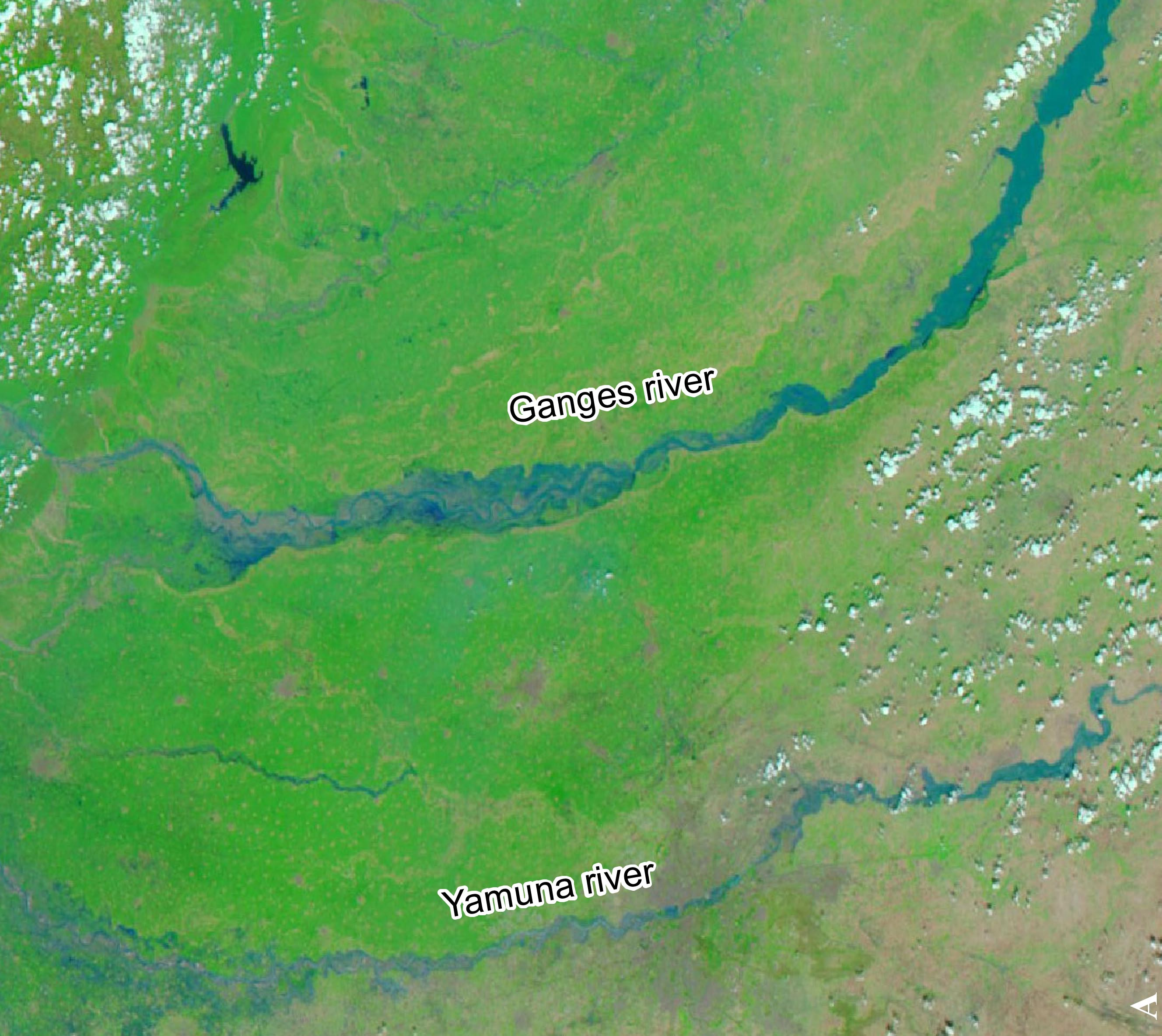 Ganges and Yamuna river seen from space by MODIS/Aqua on 21 June 2013