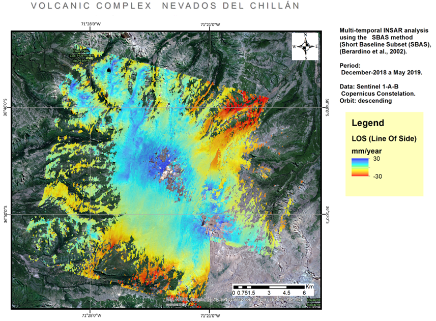 Figure 1.Results of the SBAS Multi-temporal analysis applied to the Valles de Chillan volcano in Chile.