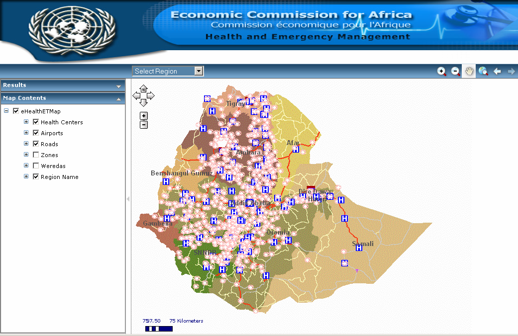 E-health System developed by ECA using geospatial data