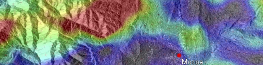 Sentinel-1 radar coverage from before and after the 1 April 2017 mudslide in Mocoa, Colombia. Triggered by heavy rain, the landslide caused greatest movement (red) on top of a mountain. It then pushed mud down across the city of Mocoa (green) and crossed the nearby river. The Sentinel-1-derived data product (from scans on 20 March and 1 April) has been overlaid onto a Sentinel-1 radar image. Image: Modified Copernicus Sentinel data (2017), processed by I. Parcharidis, Harokopio University of Athens.