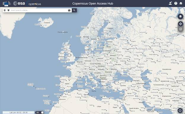 Copernicus Open Access Hub Search Panel