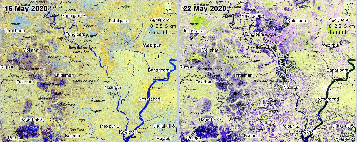 Figure 1. Pre/post flooding: Sentinel-1 satellite imageries from before (16 May) and after (22 May) Cyclone Amphan. The extent of inundation caused by the floods is assessed by comparing perennial waterbodies from before the cyclone with flooding caused by the cyclone, indicated by the blue sections of the maps. (Image: Copernicus Open Access Hub/ Sentinel-1)