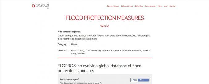 Screenshot of FLOPROS: an evolving global database of flood protection standards