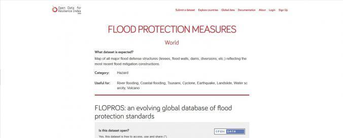 Screenshot of FLOPROS: an evolving global database of flood protection standards