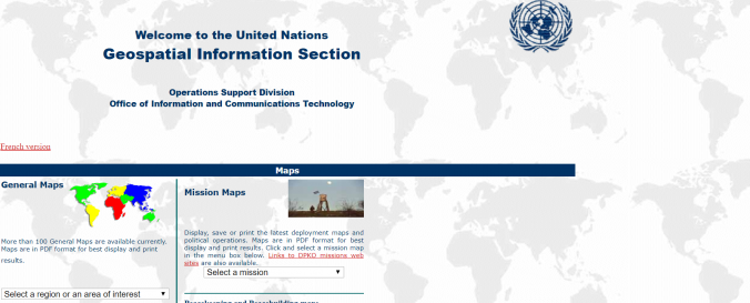 Screenshot of Cartographic Section of United Nations