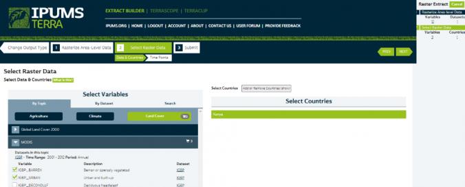 Screenshot of Integrated population and environmental data (IPUMS TERRA)