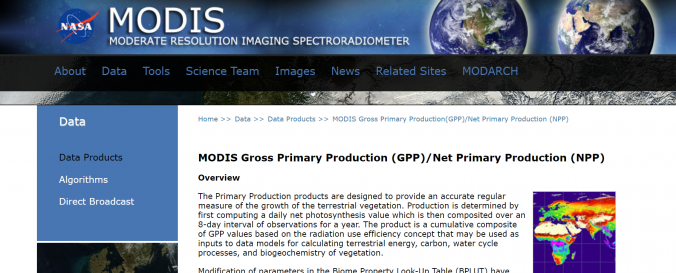 Screenshot of Modis Gross Primary Productivity