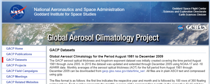 Screenshot of the Global Aerosol Climatology Project website.