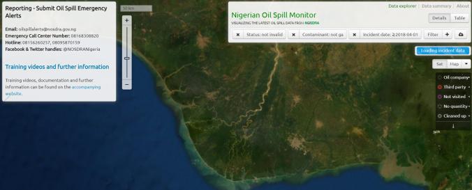 Screenshot of Nigerian Oil Spill Monitor