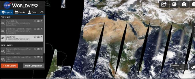 Screenshot of EOSDIS Worldview - NASA