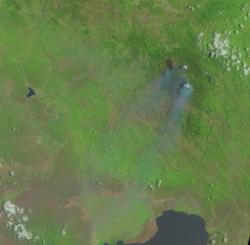 Landsat 8 image of 28 July 2014 showing the active forest fires