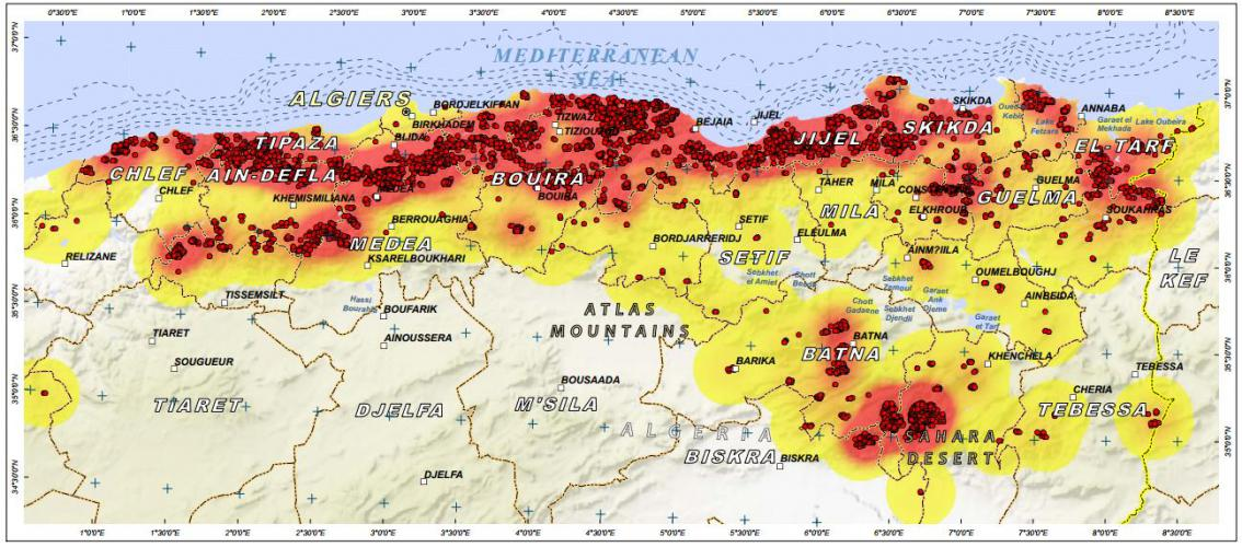Algeria Maps Of Summer Wildfires Available UNSPIDER - Algeria map