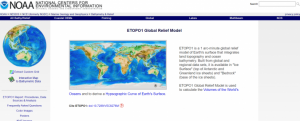 Screenshot of ETOPO1 Global Relief Model