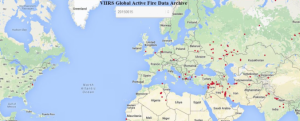 Screenshot of fire hotspots