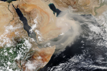 An image of a dust storm over the Arabian Peninsula captured by the Suomi National Polar-orbiting Partnership satellite in July 2018. Image: NASA Earth Observatory