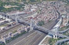 A satellite view of the Morandi Bridge in Genoa, Italy prior to its collapse in August 2018. Image: NASA/JPL-Caltech/Google.
