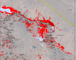 Satellite-detected areas of flood waters in the Wasit Governorate in eastern Ira
