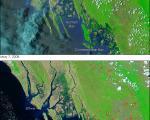 Satellite image of coastal flooding