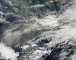 Satellite image of volcano eruption