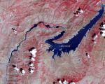 False Color image of the largest river in Tajikistan