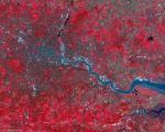 Birds eye view of London acquired by the UK-DMC-2 satellite in November 2011