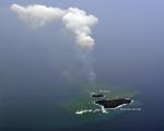 Aerial view of Nishinoshima island, part of the Ogasawara Islands.