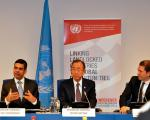 Under-Secretary and High Representative Gyan Acharya, UN Secretary-General Ban Ki-moon, Austrian Foreign Minister Sebastian Kurz and the UN LLCDs Conference in Vienna (Image: UNIS Vienna)