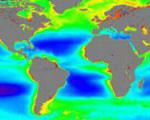 Global ocean color observations with satellite (Image: NASA)