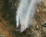 Satellite picture of the wild fire and Yosemite National Park.