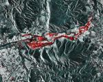 The Sentinel-1 RGB stack showing (in red) flooding on February 23, 2018. Image: Sentinel Playground