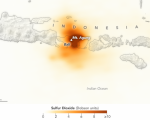 Tracking the Sulfur Dioxide from Mount Agung. Image: NASA.