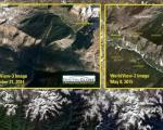 Remote sensing imagery, like here showing the earthquake and landslides in Nepal 2015, provide important information (Image: USGS).