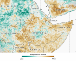 Evaporative stress index in the Horn of Africa. Image courtesy of NASA.