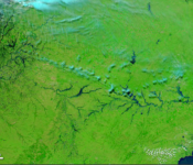 Moderate Resolution Imaging Spectroradiometer (MODIS) on NASA's Terra satellite captured false-color images of the State of Rio Grande Du Sul  in 2007 Image: NASA