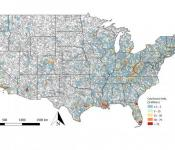 Modeled catchment mean annual loss. For clarity, only catchments with a mean annual loss of >$1.5 million have been plotted. Image: Quinn, N., Bates, P. D., Neal, J., Smith, A., Wing, O., Sampson, C., et al. ( 2019).