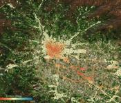 Ground deformation map of Pistoia in Tuscany. Using data acquired between 2014 and 2019 from the Copernicus Sentinel-1 mission, the map shows subsidence in red and uplift in blue. Image: ESA/TRE ALTAMIRA.