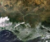 This Envisat image highlights the lower Niger River system in the West African country of Nigeria, where the Niger River (left) and the Benue River merge. Image: ESA