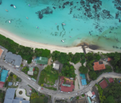 Drone view of Seychelles coastline