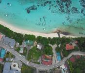 Drone view of Seychelles coastline