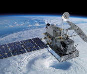 Visualization of the GPM Core Observatory satellite orbiting the planet earth.