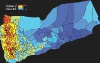 The map shows the predicted cholera risk based on analysis and satellite data in Yemen, June 2017. Blue color indicates low risk of cholera while red color indicates high risk of cholera. Image: West Virginia University/Antar Jutla.