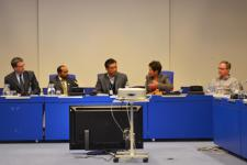 Signing ceremony between UNOOSA and ICIMOD on 12 February 2013.