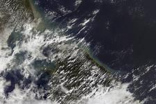 The coasts of Sri Lanka and India showing sediments left after a tsunami