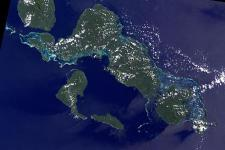 Landsat-7 satellite image of Solomon Islands.