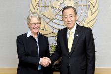 Ban Ki-moon meets with Margareta Wahlström