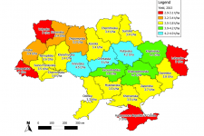 Fig. 1. Winter wheat yield forecasts for Ukraine for 2013 as of 08 May 2013.