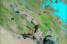 Archived satellite image of a flood in Iraq in 2004.