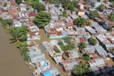 Community near Santo Domingo flooded due to Hurricane Sandy in November 2012.