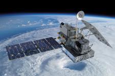 Artist concept of the Global Precipitation Measurement (GPM) satellite.