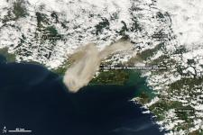 Ash from Chaparrastique volcano eruption carried downwind on 29 December 2013